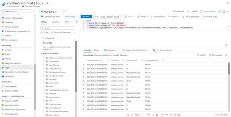 Screenshot of Log Analytics query from a virtual machine context