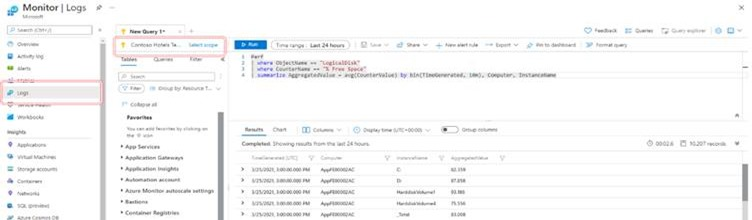 Screenshot of the log query in the subscription context